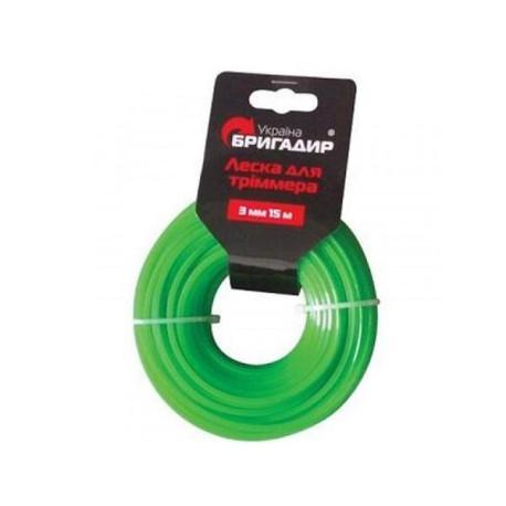 Леска для бензинового триммера Бригадир зелёный, 2,4 мм, 15 м