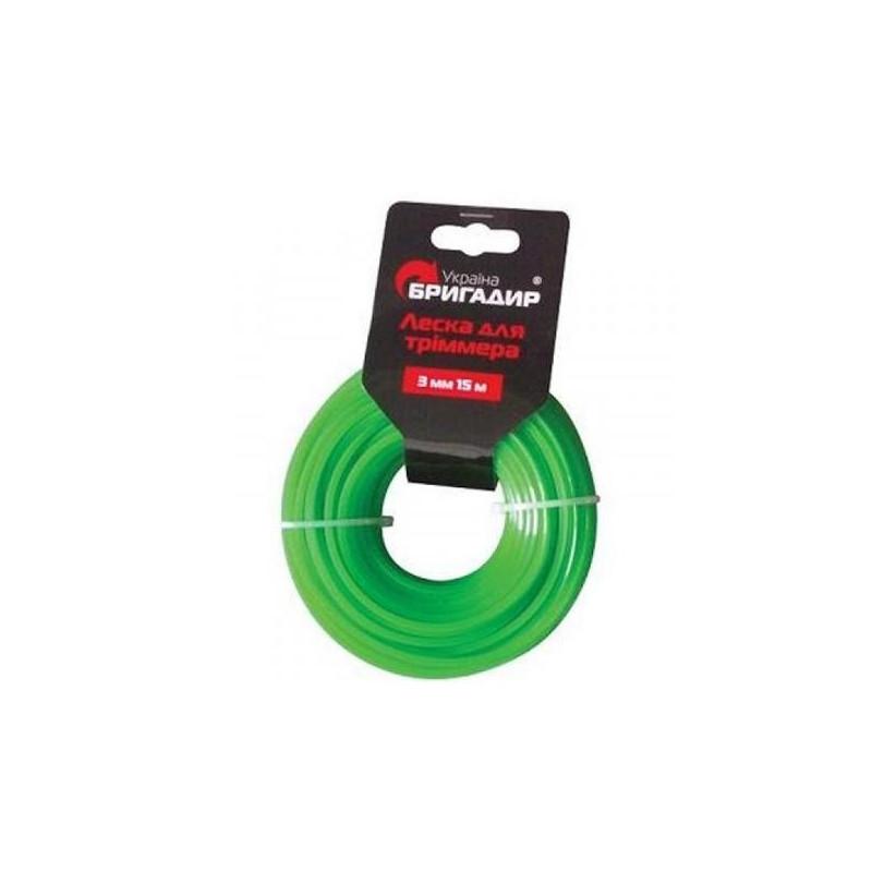 Леска для бензинового триммера Бригадир зелёный, 2,7 мм, 15 м
